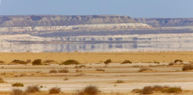 Tuzbair saline land and vicinities at the Western cliffs of Ustyurt.