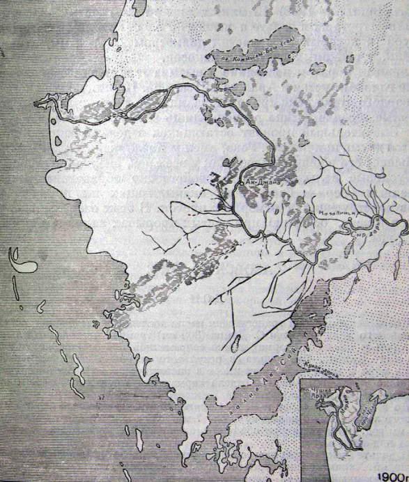 Дельта Сыр-Дарьи. Схема 1900 года.