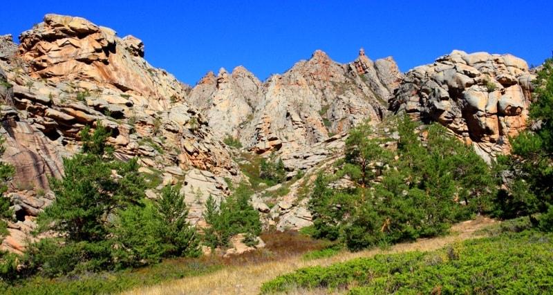 Auliye valley in Kyzylaray mountains. Karaganda province.