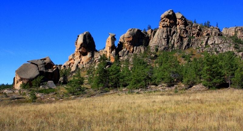 Besoba valley in Kyzylaray mountains. Karaganda region.