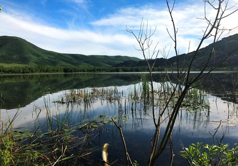 Lake Karakol in cascade of Sibinskiye lake.