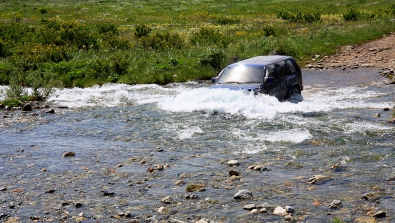 Ford through the river on the Austrian road.