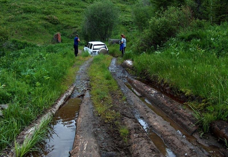 Austrian road from Markakol lake to Bukhtarma river in Katon-Karagay national pak.