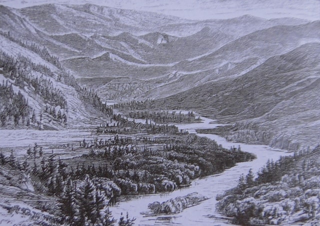 Bukhtarma River. Engraving of the XIXth century.
