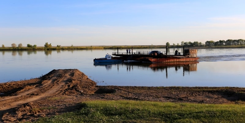 The ferry to Irtysh the river.