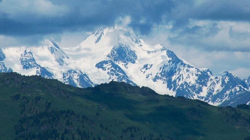 Sights of the Kazakhstan Altai. Mount Belukha 4506 meters above sea level.