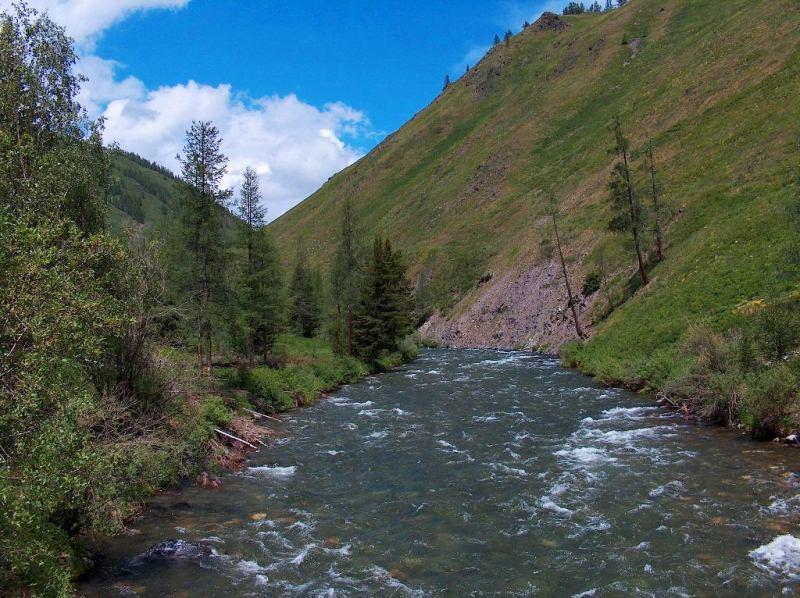 Sights of the Kazakhstan Altai. The river of Karakoba.