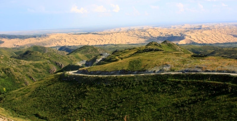 Sights of the Kazakhstan Altai. View from Pass Mramornyi.