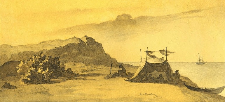 Шатер экспедиции на острове Барсакельмес. 1848 год.