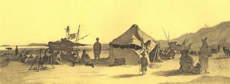 Дневка экспедиционного каравана в степи. 1848 год.