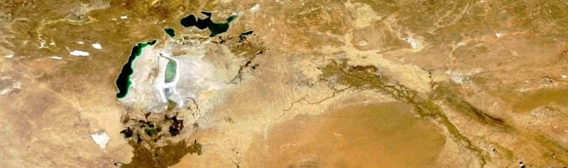 The Aral Sea a picture from space.