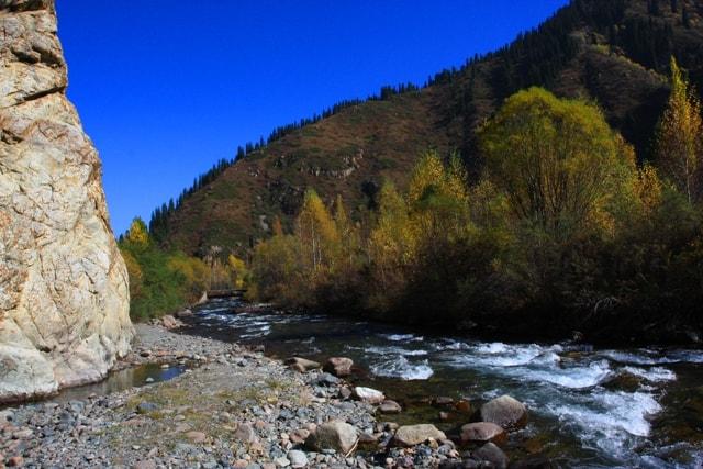 Река Иссык течет в живописном ущелье.