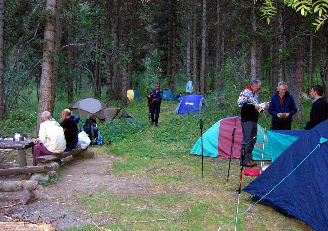 Лагерь горных туристов на Красной поляне.