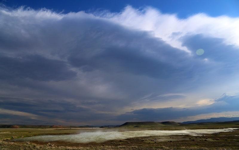 Lake Ashchikol and its environs in the Zhambyl region.