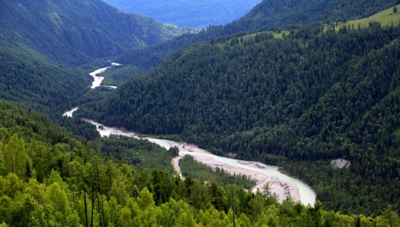 Река Белая Берель с высоты автомобильной дороги Урыль – Рахмановские ключи.