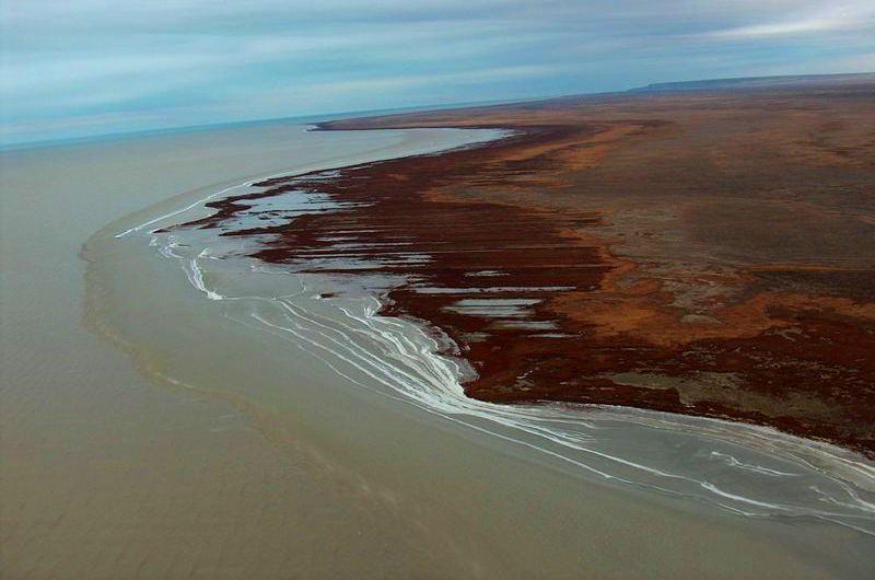 The Coastal line Big Aral Sea.
