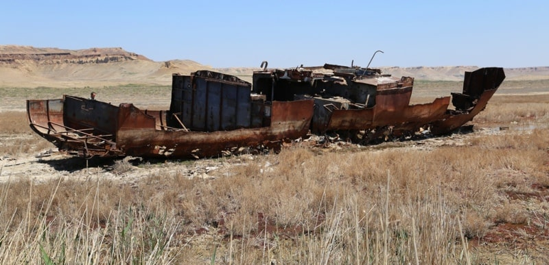 First ship is on Aral Sea.