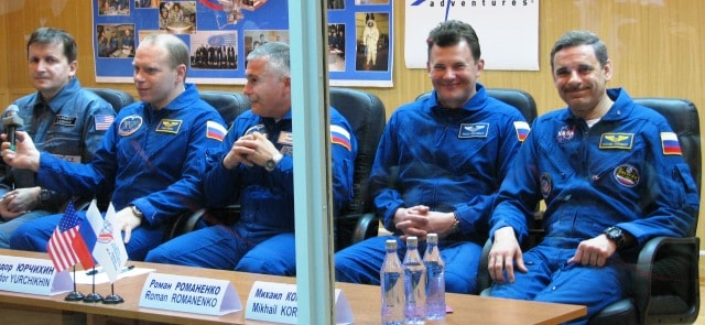 Cosmonauts at press conference.