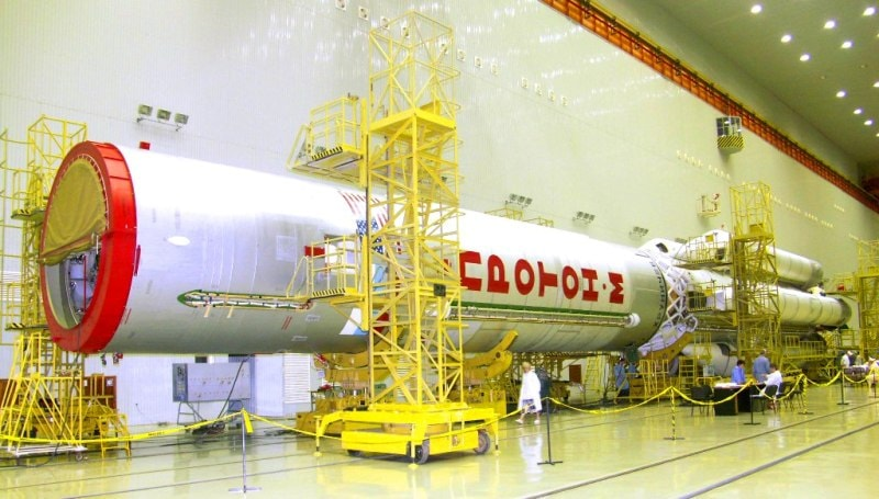 "In an assembly and test complex ""Union"" at Baikonur Cosmodrome."