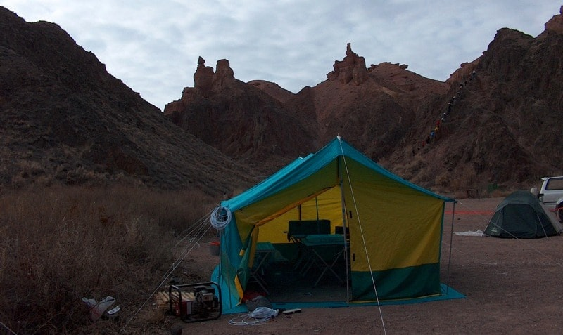 Tent for kitchen and the dining.