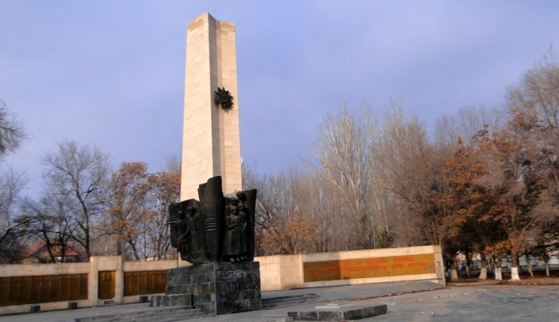 """Obelisk """"Victory"""" over town park."""