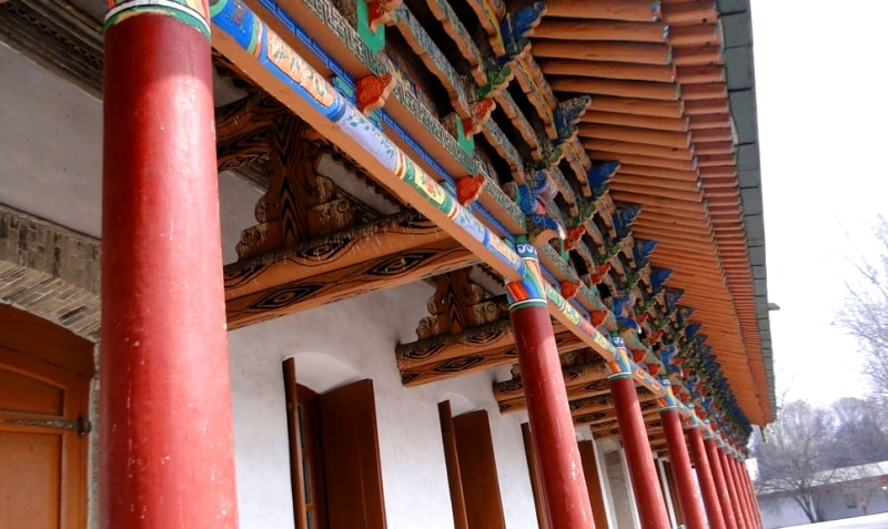 Wooden architecture in Dunga mosques-museums in the town of Zharkent.