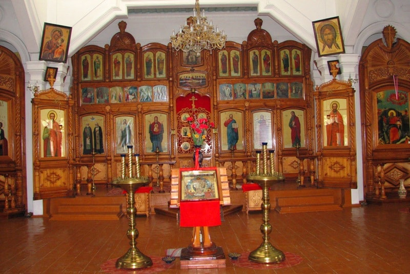 Iconostasis in a city orthodox temple of the town of Zharkent.
