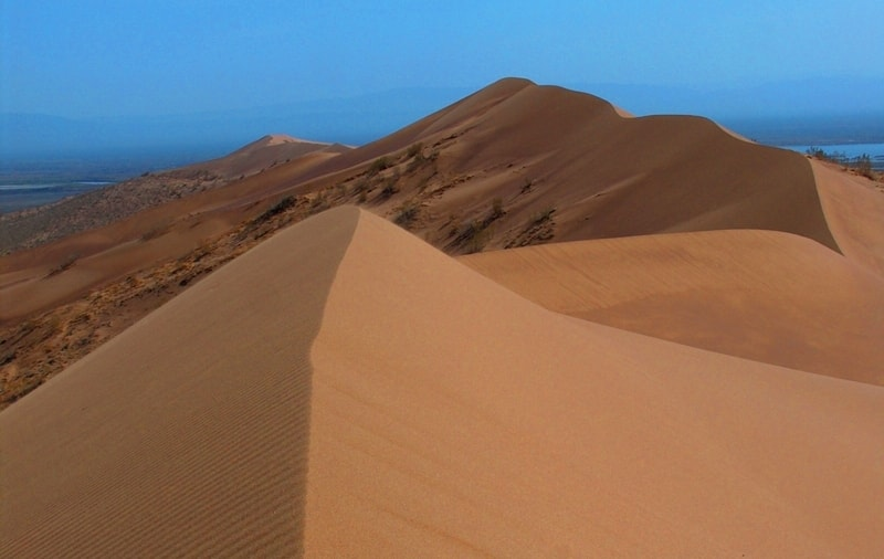 Singing dune in Altyn-Emel national park.
