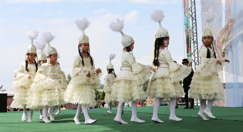 Performance of children's dancing ensemble on holiday Guldala-2015.