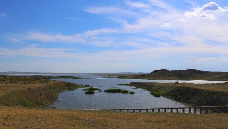 Lake Shagan. View from an artificial dam.