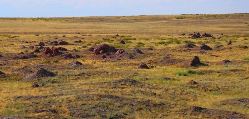 Выбросы грунта в окрестностях Атомного озера.