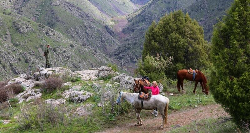 Прогулка на лошадях в заповеднике Аксу-Жабаглы на водопад в  ущелье Киши-Каинды.