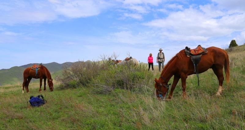 Привал на конном маршруте в заповеднике Аксу-Жабаглы.
