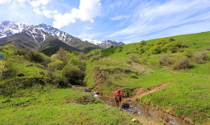 Прогулка на лошадях в заповеднике Аксу-Жабаглы в ущелье Киши-Каинды.