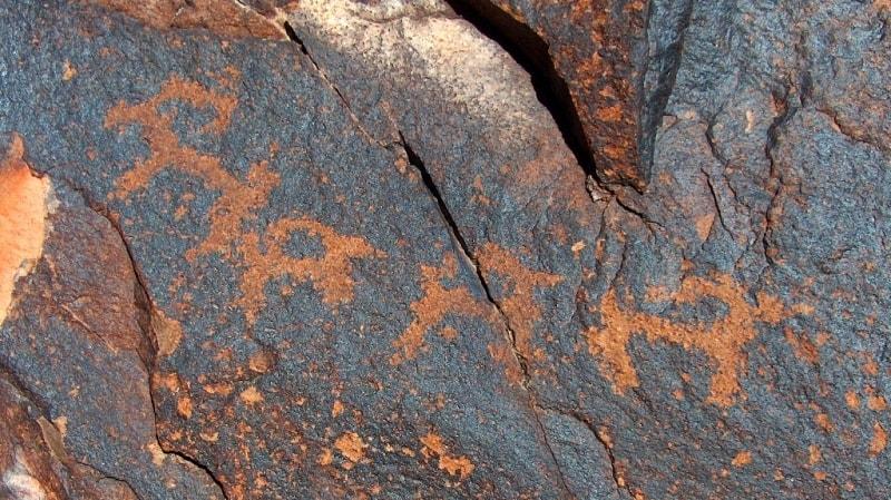 Petroglyphs in Terekty gorge in national park Altyn-Emel.