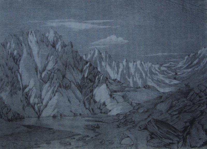Озеро Джасылкуль (Иссык). Акварель художника П. Кошарова.