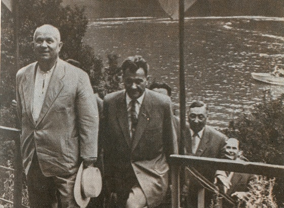 N.S.Khruschev and D.A.Kunaev on lake Issyk. 1961.