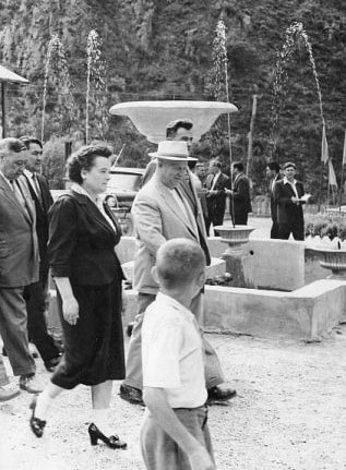 N.S.Hrushchev meeting in Young Pioneer camp gorges Issyk. Kuzmin photo.