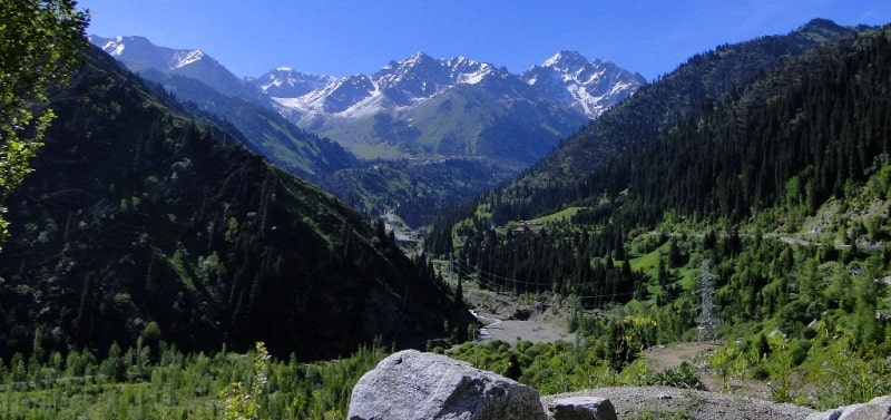 Panorama of peak of Abay from a dam in the Low-Almaty gorge.