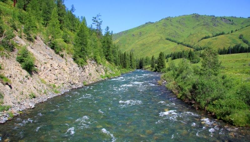 Мост на реке Белая Берель и окрестности. The river of Karakoba.
