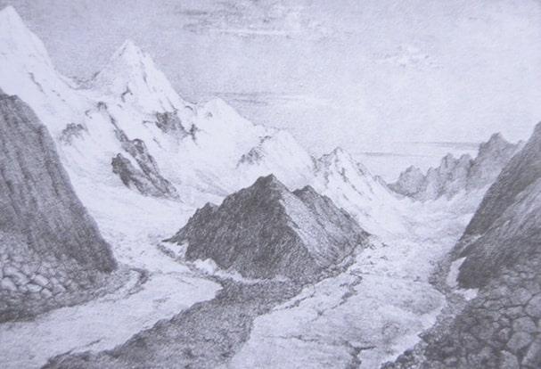 Белуха – величайшая гора Алтая. Из серии литографий  «Художественно-этнографические рисунки Сибири». 1890 – 1891 г.г.
