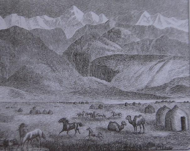 Стойбище в степи. Гравюра XIX века.