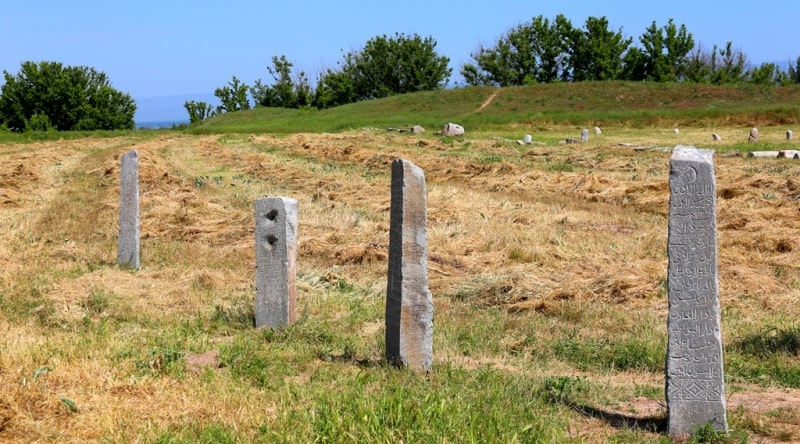 Eepigraphy monuments on gravestone stones steles with inscriptions the Arab alphabet.