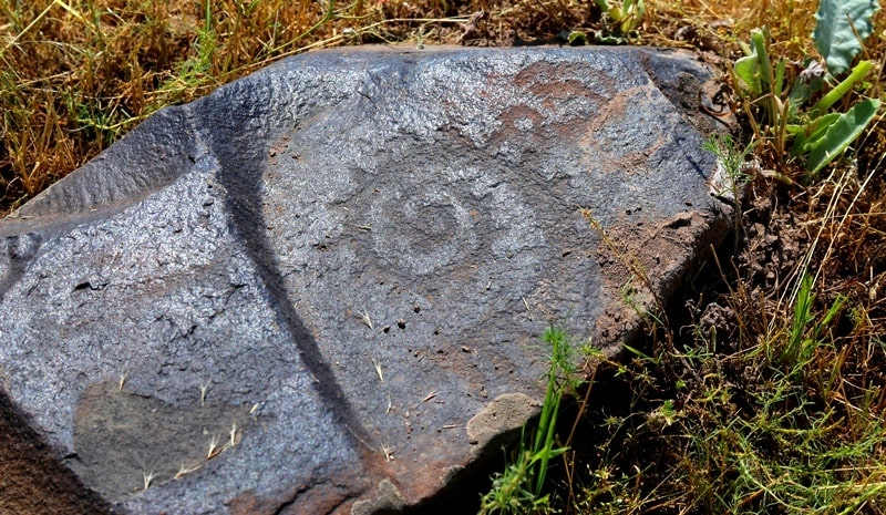 Petroglyphs in the neighborhood of the architectural and archaeological Burana Tower complex.