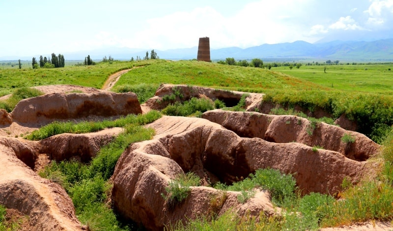 Ruins of the state of karakhanid in the neighborhood of the architectural and archaeological Tower Burana complex.
