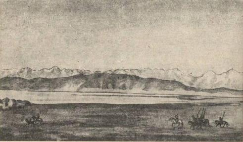 Westernmost tip of the Lake Issyk Kul. Drawing of the topographer M. Sirotkin.
