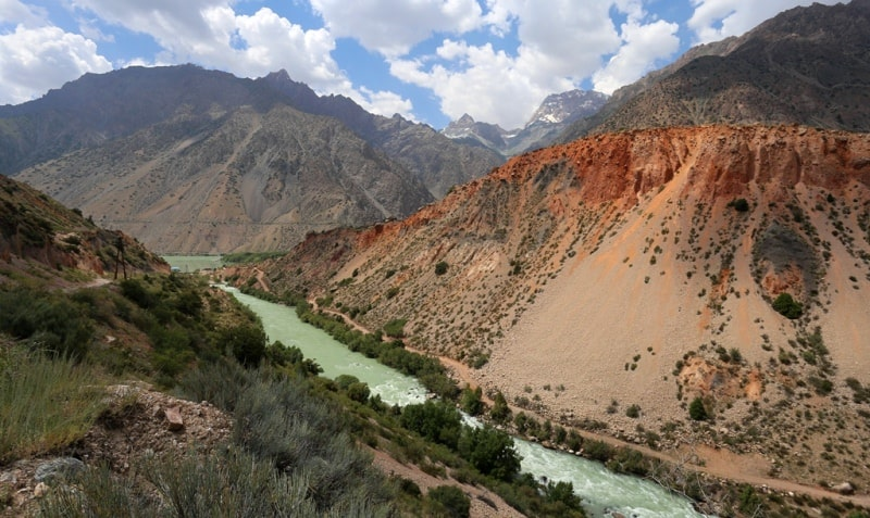 Реки Центральной Азии. Река Искандарья вытекающая из озера Искандеркуль. Таджикистан.