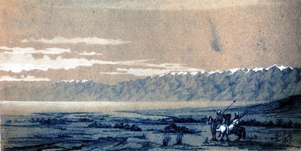 На Иссык-Куле. Рисунок Б. Кошарова.