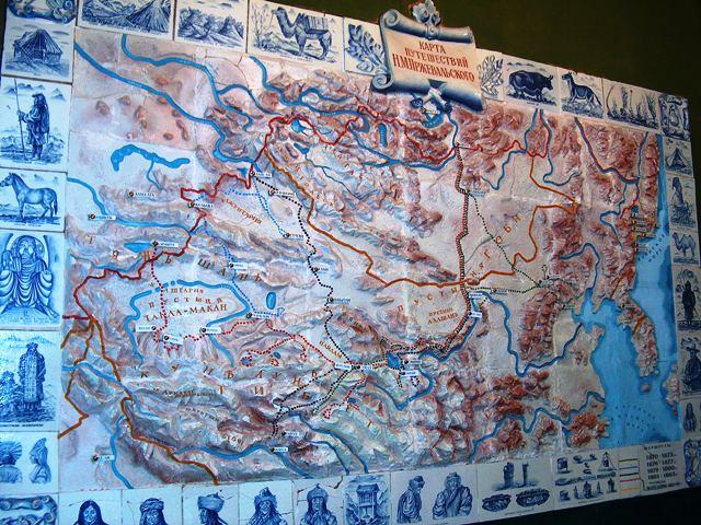 Карта с путешествиями Пржевальского.