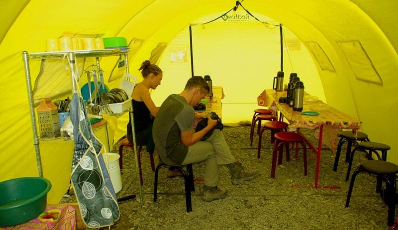 Kitchen tent in camp «Peak Nansen».